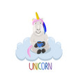 unicorn sitting on the cloud with a cup of tea vector image