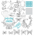 Vintage doodle elements - pattern flower butterfly