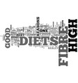 why high fibre diets are good for you text word vector image vector image