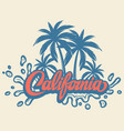 with calligraphic lettering california and palm vector image vector image