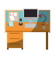 colorful graphic of workplace office interior vector image