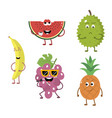 set of funny characters from fruit 2 vector image