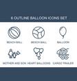 6 balloon icons vector image vector image