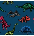 Adorable seamless pattern with funny dinosaur vector image vector image