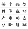 Black Tropic Beaches and summer icons vector image vector image