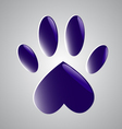 Blue glowing paw vector image vector image