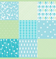 blue natural pattern set vector image