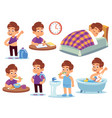 boy daily activities little kid sleeps in a bed vector image vector image