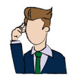business man thinking manager cartoon character vector image