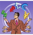 businessman juggling money business concept vector image vector image