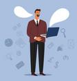 businessman online chat vector image vector image