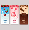 cartoon dairy products vertical banners vector image vector image