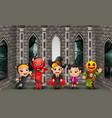 cartoon happy kids on the halloween day vector image vector image