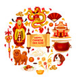 chinese new year china decorations poster vector image vector image