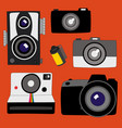 collection of various cameras from old to new vector image