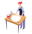 cooking or baking hobwoman with dough and vector image