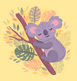 cute hand drawn koala sleeping on branch vector image