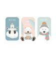 cute polar bear christmas holiday greeting card vector image vector image