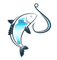 fish and fishhook vector image vector image