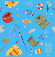 fishing equipment background with fishing rod vector image vector image