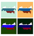 flag map of russia vector image vector image