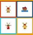 flat icon alternative set of watermill ecology vector image