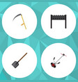 flat icon dacha set of grass-cutter barbecue vector image vector image