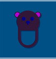 flat icon design teddy bear bib in sticker style vector image