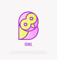 funny owl with big eyes thin line icon vector image vector image