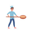 happy baker holding wooden paddle with freshly vector image