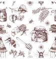 honey hand drawn seamless pattern vector image