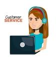 laptop woman customer service call center design vector image vector image