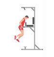 man doing triceps dip on parallel bars vector image