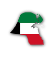 Map and flag of Kuwait vector image