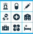 medicine icons set with pill case clinic and vector image