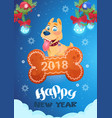 new year card with cute dog standing on bone vector image vector image