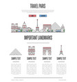 paris travel infographics in linear style vector image vector image