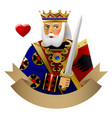 playing cards king heart with banner vector image vector image