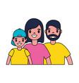 portrait family parents and son vector image
