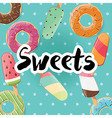 Poster design with tasty donuts and ice cream vector image vector image