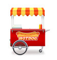 realistic red hot dog cart with striped canopy vector image vector image