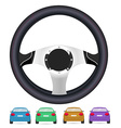 realistic steering wheel and set back cars vector image
