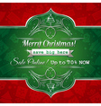 red christmas background and green label with sale vector image vector image