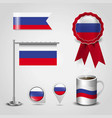russia country flag place on map pin steel pole vector image vector image