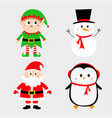 santa claus elf snowman penguin set happy new vector image vector image