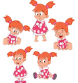 Set Cute Little Girl for you Design Cartoon vector image