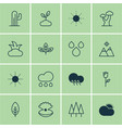 set of 16 nature icons includes sun oak vector image vector image