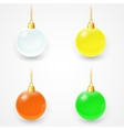 Set of Christmas glass balls on a white background vector image