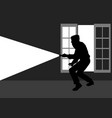 silhouette of a thief break into the house vector image