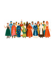 smiling diverse female in national ethnic clothes vector image